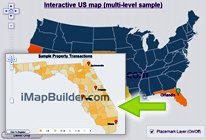 create multi-level United States map with drill down using mapping software - imapbuilder