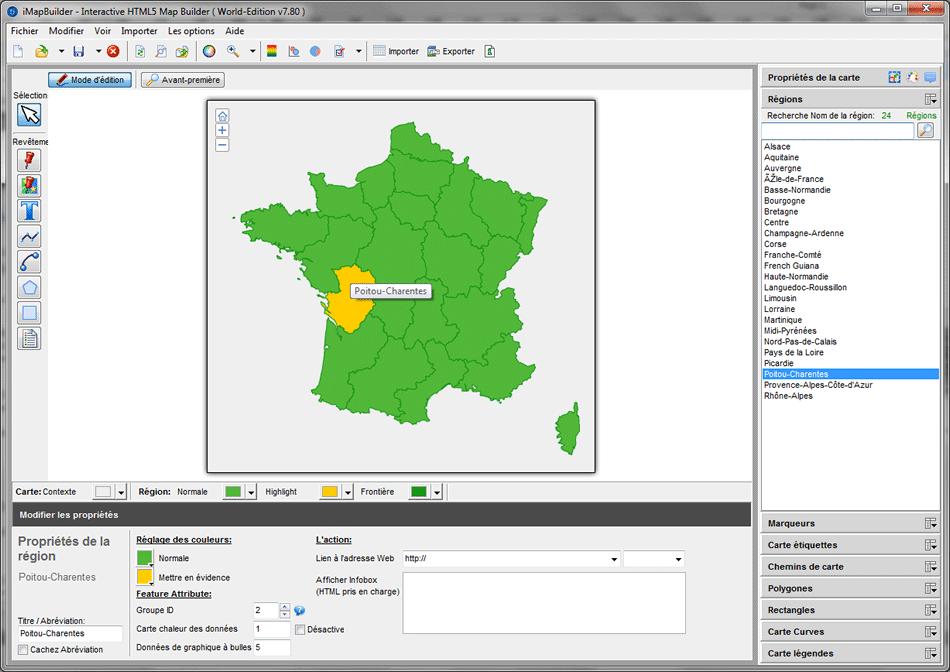 créer carte de France iMapBuilder avec HTML5 Builder Carte, lu sur appareil mobile
