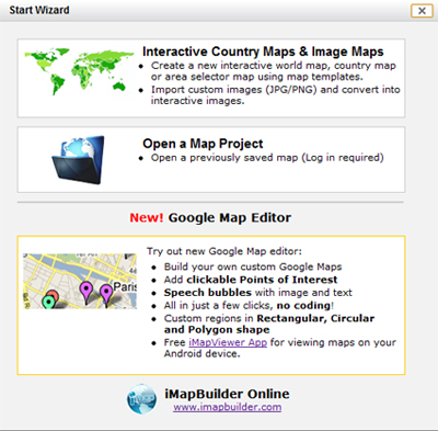 Select map template, import map image or load saved project