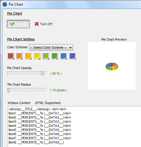 Change pie chart settings