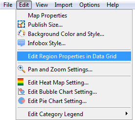 Open Data Grid from menu bar