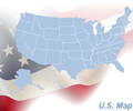United States Map - Flag Theme