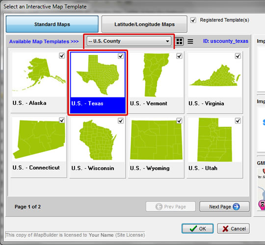 create a drill down map county level of texas